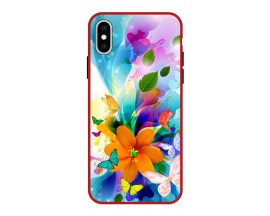 Husa Premium Spate Upzz Pro Anti Shock Compatibila Cu Iphone X - XS, Model Painted Butterflies 2, Rama Rosie