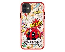 Husa Premium Spate Upzz Pro Anti Shock Compatibila Cu Iphone 11, Model Ouch, Rama Rosie