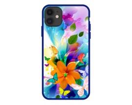 Husa Premium Spate Upzz Pro Anti Shock Compatibila Cu Iphone 11, Model Painted Butterflies 2, Rama Albastra