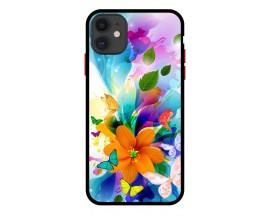 Husa Premium Spate Upzz Pro Anti Shock Compatibila Cu Iphone 11, Model Painted Butterflies 2, Rama Neagra