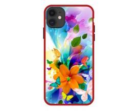 Husa Premium Spate Upzz Pro Anti Shock Compatibila Cu Iphone 11, Model Painted Butterflies 2, Rama Rosie