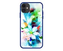 Husa Premium Spate Upzz Pro Anti Shock Compatibila Cu Iphone 11, Model Painted Butterflies, Rama Albastra