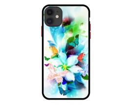 Husa Premium Spate Upzz Pro Anti Shock Compatibila Cu Iphone 11, Model Painted Butterflies, Rama Neagra