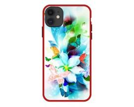 Husa Premium Spate Upzz Pro Anti Shock Compatibila Cu Iphone 11, Model Painted Butterflies, Rama Rosie