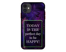 Husa Premium Spate Upzz Pro Anti Shock Compatibila Cu Iphone 11, Model Perfect Day, Rama Neagra