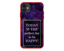 Husa Premium Spate Upzz Pro Anti Shock Compatibila Cu Iphone 11, Model Perfect Day, Rama Rosie