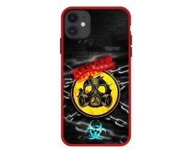 Husa Premium Spate Upzz Pro Anti Shock Compatibila Cu Iphone 11, Model Toxic, Rama Rosie