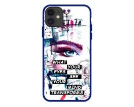 Husa Premium Spate Upzz Pro Anti Shock Compatibila Cu Iphone 11, Model Your Eyes, Rama Albastra