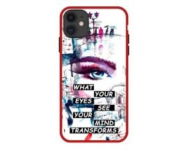 Husa Premium Spate Upzz Pro Anti Shock Compatibila Cu Iphone 11, Model Your Eyes, Rama Rosie