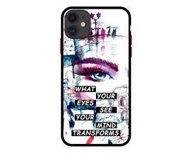 Husa Premium Spate Upzz Pro Anti Shock Compatibila Cu Iphone 11, Model Your Eyes, Rama Neagra