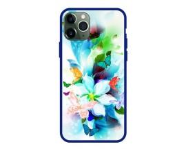 Husa Premium Spate Upzz Pro Anti Shock Compatibila Cu Iphone 11 Pro, Model Painted Butterflies, Rama Albastra