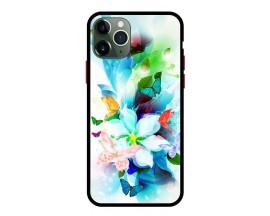Husa Premium Spate Upzz Pro Anti Shock Compatibila Cu Iphone 11 Pro, Model Painted Butterflies, Rama Neagra