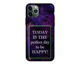 Husa Premium Spate Upzz Pro Anti Shock Compatibila Cu Iphone 11 Pro, Model Perfect Day, Rama Neagra