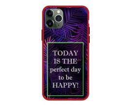 Husa Premium Spate Upzz Pro Anti Shock Compatibila Cu Iphone 11 Pro, Model Perfect Day, Rama Rosie
