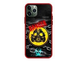 Husa Premium Spate Upzz Pro Anti Shock Compatibila Cu Iphone 11 Pro, Model Toxic, Rama Rosie