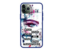Husa Premium Spate Upzz Pro Anti Shock Compatibila Cu Iphone 11 Pro, Model Your Eyes, Rama Albastra