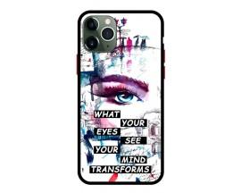 Husa Premium Spate Upzz Pro Anti Shock Compatibila Cu Iphone 11 Pro, Model Your Eyes, Rama Neagra