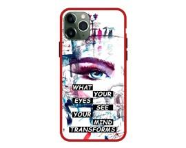 Husa Premium Spate Upzz Pro Anti Shock Compatibila Cu Iphone 11 Pro, Model Your Eyes, Rama Rosie