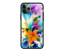 Husa Premium Spate Upzz Pro Anti Shock Compatibila Cu Iphone 11 Pro, Model Painted Butterflies 2, Rama Neagra