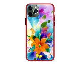 Husa Premium Spate Upzz Pro Anti Shock Compatibila Cu Iphone 11 Pro, Model Painted Butterflies 2, Rama Rosie