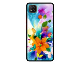 Husa Premium Spate Upzz Pro Anti Shock Compatibila Cu Xiaomi Redmi 9C, Model Painted Butterflies 2, Rama Neagra