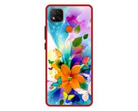 Husa Premium Spate Upzz Pro Anti Shock Compatibila Cu Xiaomi Redmi 9C, Model Painted Butterflies 2, Rama Rosie