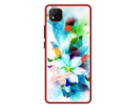 Husa Premium Spate Upzz Pro Anti Shock Compatibila Cu Xiaomi Redmi 9C, Model Painted Butterflies, Rama Rosie