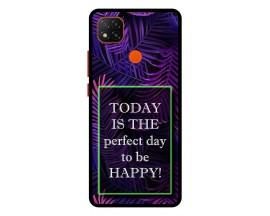 Husa Premium Spate Upzz Pro Anti Shock Compatibila Cu Xiaomi Redmi 9C, Model Perfect Day, Rama Neagra