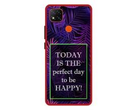 Husa Premium Spate Upzz Pro Anti Shock Compatibila Cu Xiaomi Redmi 9C, Model Perfect Day, Rama Rosie