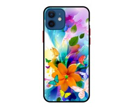 Husa Premium Spate Upzz Pro Anti Shock Compatibila Cu Iphone 12 Mini, Model Painted Butterflies 2, Rama Neagra