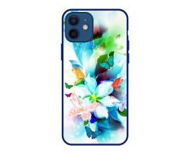 Husa Premium Spate Upzz Pro Anti Shock Compatibila Cu Iphone 12 Mini, Model Painted Butterflies, Rama Albastra