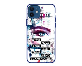 Husa Premium Spate Upzz Pro Anti Shock Compatibila Cu Iphone 12 Mini, Model Your Eyes, Rama Albastra