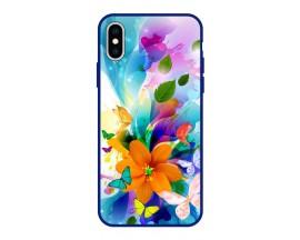 Husa Premium Spate Upzz Pro Anti Shock Compatibila Cu Iphone Xs Max, Model Painted Butterflies 2, Rama Albastra