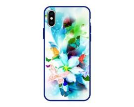 Husa Premium Spate Upzz Pro Anti Shock Compatibila Cu Iphone Xs Max, Model Painted Butterflies, Rama Albastra