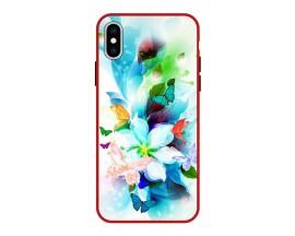 Husa Premium Spate Upzz Pro Anti Shock Compatibila Cu Iphone Xs Max, Model Painted Butterflies, Rama Rosie