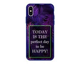 Husa Premium Spate Upzz Pro Anti Shock Compatibila Cu Iphone Xs Max, Model Perfect Day, Rama Albastra