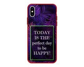 Husa Premium Spate Upzz Pro Anti Shock Compatibila Cu Iphone Xs Max, Model Perfect Day, Rama Rosie