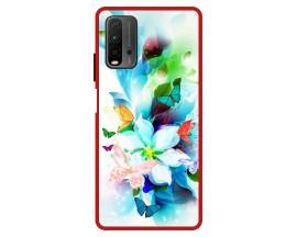 Husa Premium Spate Upzz Pro Anti Shock Compatibila Cu Xiaomi Redmi 9T, Model Painted Butterflies, Rama Rosie