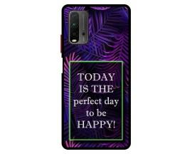 Husa Premium Spate Upzz Pro Anti Shock Compatibila Cu Xiaomi Redmi 9T, Model Perfect Day, Rama Neagra
