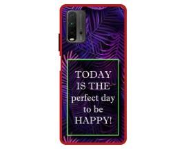 Husa Premium Spate Upzz Pro Anti Shock Compatibila Cu Xiaomi Redmi 9T, Model Perfect Day, Rama Rosie
