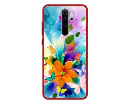 Husa Premium Spate Upzz Pro Anti Shock Compatibila Cu Xiaomi Redmi Note 8 Pro, Model Painted Butterflies 2, Rama Rosie