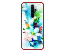 Husa Premium Spate Upzz Pro Anti Shock Compatibila Cu Xiaomi Redmi Note 8 Pro, Model Painted Butterflies, Rama Rosie