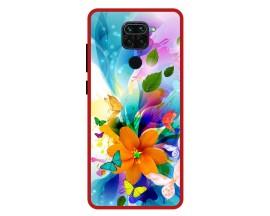 Husa Premium Spate Upzz Pro Anti Shock Compatibila Cu Xiaomi Redmi Note 9, Model Painted Butterflies 2, Rama Rosie