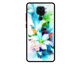 Husa Premium Spate Upzz Pro Anti Shock Compatibila Cu Xiaomi Redmi Note 9, Model Painted Butterflies, Rama neagra
