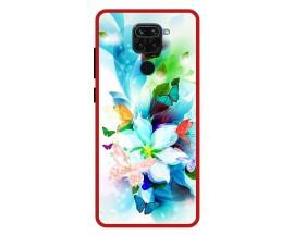 Husa Premium Spate Upzz Pro Anti Shock Compatibila Cu Xiaomi Redmi Note 9, Model Painted Butterflies, Rama Rosie