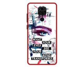 Husa Premium Spate Upzz Pro Anti Shock Compatibila Cu Xiaomi Redmi Note 9, Model Your Eyes, Rama Rosie