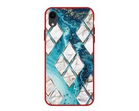 Husa Premium Spate Upzz Pro Anti Shock Compatibila Cu Iphone Xr, Model Marble 1, Rama Rosie