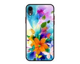 Husa Premium Spate Upzz Pro Anti Shock Compatibila Cu Iphone Xr, Model Painted Butterflies 2, Rama Neagra