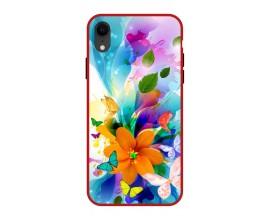 Husa Premium Spate Upzz Pro Anti Shock Compatibila Cu Iphone Xr, Model Painted Butterflies 2, Rama Rosie