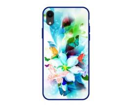 Husa Premium Spate Upzz Pro Anti Shock Compatibila Cu Iphone Xr, Model Painted Butterflies, Rama Albastra